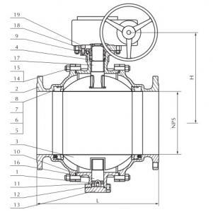 Cast steel trunnion mounted ball valve 300lb