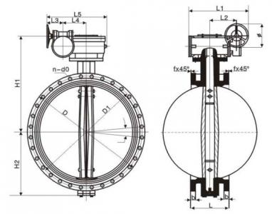 Flanged rubber seat butterfly valve