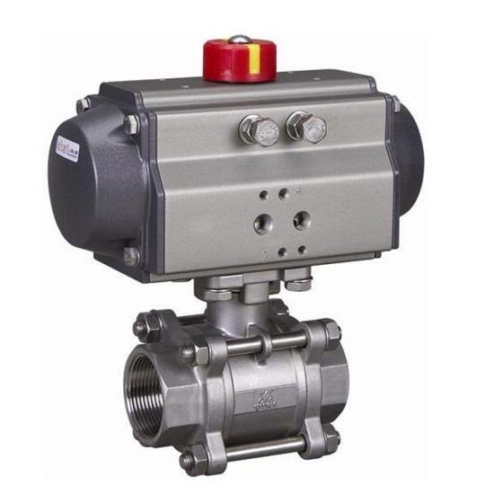 Pneumatic three pieces ball valve