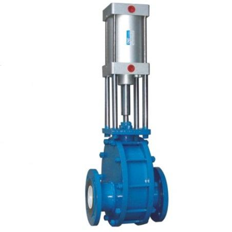 Pneumatic discharge gate valve