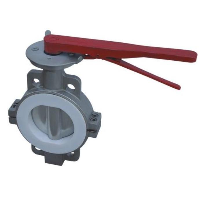 Half PTFE lined butterfly valve