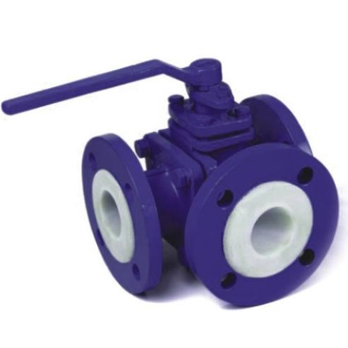 PTFE Lined three way ball valve