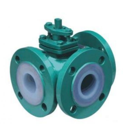 PFA Lined three way ball valve